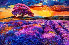 Original oil painting of lavender fields on canvas Sunset landscape Modern Impressionism Impressionist Paintings, Landscape Paintings, Impressionist Landscape, Pintura Graffiti, Desenho Pop Art, Art Visage, L'art Du Portrait, Art Watercolor, Modern Impressionism