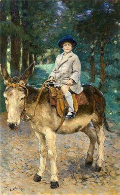 Girl on Donkey by Pytor Nilas