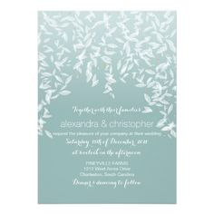 Fall Leaves Romantic Glow Aqua Wedding Invitation. Autumn Leaves Rain Elegant Wedding Suite - includes wedding invitation, RSVP card, Thank You card. 3 color options available: beige, aqua, peach. If you need more coordinating items from this suite, please don't hesitate to ask me and I'll be more then happy to help.