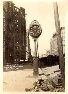 """Clock which stood earthquake and fire, S[an] F[rancisco], Apr. 18, '06""  -1906"