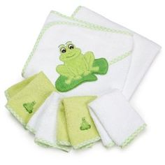 #10: SpaSilk 100% Cotton Hooded Terry Bath Towel with 4 Washcloths, Green