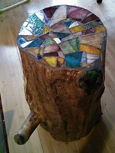 Stump Table: stained-glass mosaic top. Expired Etsy listing. #StainedGlassMosaic #StainedGlassHouse