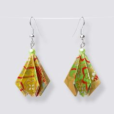 Origami Flower Drop Earrings - HZ378 Origami Artist, Origami Flowers, Japanese Paper, Handmade Accessories, Great Gifts, Drop Earrings, How To Make, Beautiful, Amazing Gifts
