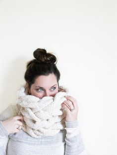 Make this gorgeous chunky braided cowl with Lion Brand Wool-Ease Thick & Quick!