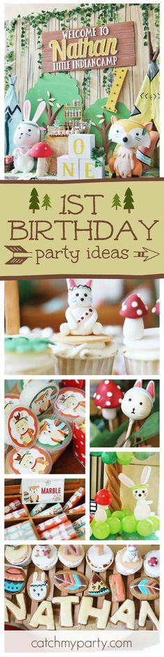 You''ll not want to miss this adorable Indian camp 1st birthday party! The birthday cake with the little animals is just too cute!  See more party ideas and share yours at CatchMyParty.com