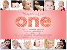 Create a memorable 1st birthday invitation for your little one with 12 photos from their first year!