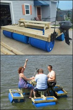 Enjoy some quality time at the lake by building this floating picnic table!