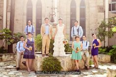 Bridal party in the Zilker Courtyard at the Southwest School of Art. Photo courtesy of Bend The Light Photography.