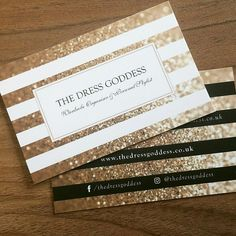 Business Cards 450gsm Luxury Velvet Touch Finish Client : The Dress Goddess Design & Print http://www.designbybimbo.co.uk Sparkly Gold Glitter Business Cards. Design Print Inspiration Girlie, Pretty and Glamorous
