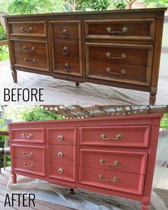 Coral Dresser DIY . Old dresser into a pretty new console.