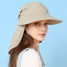 6e082999 Wide brimmed hat with neck protection for women summer fishing bucket hats