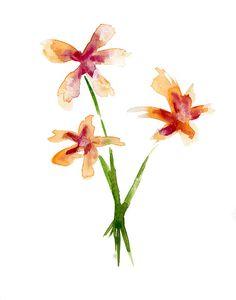 Origineel bloemen Aquarel schilderij. Waterverf door Zendrawing, €37.50
