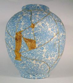 Brighton-based artist Charlotte Bailey was fascinated by the traditional Japanese mending technique called kintsugi, where a broken ceramic object is repaired with gold, silver or platinum, to accentuate the damage and 'honor' its history. In this interpretation, Bailey utilizes an emb