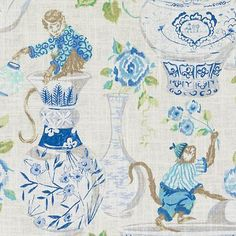 55 Cornflower by Duralee Designer Fabric Ming Prints Linen, Rayon CHINA Wyzenbeek Method Horizontal: inches and Vertical: 27 inches 54 inches - Swanky Fabrics - Chinoiserie Fabric, Chinoiserie Wallpaper, Chinoiserie Chic, Fabric Wallpaper, Wallpaper Ideas, Ikat Fabric, Fabric Decor, Fabric Design, Chair Fabric