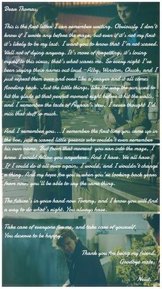 The Death Cure. Newt's letter ... stop crying you crank.