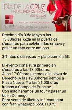 Día de las Cruces, Quedada en D'Cuadros, Plaza de Toros, 13 horas, luego ver cruces más Fran 655 01 10 75  Más eventos en Granada Facebook.com/QuedadasGranada   Mario 616453927 WhatsApp info@extragrupo.org