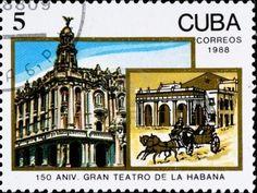 CUBA - CIRCA 1988: postage stamp celebrate 150 anniversary theater in Havana, circa 1988 Stock Photo