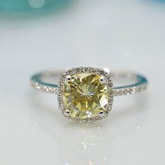 Fire & Brilliance yellow moissanite ring