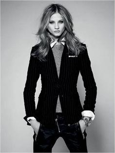 Masculine, leather, blazer, cheekbones, disproportionate