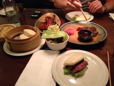 Flesh and Buns London. Steamed buns with flat iron steak and lamb.