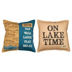 Lake Decor   Lake Pillow   On Lake Time   LakehouseOutfitters.com