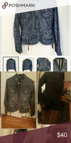 REDUCED!!LADIES DENIM JACKET JUST LIKE NEW CONDITION,  SIZE SMALL, CAN FIT MED,  ZIPS UP,  POCKETS, VERY COOL WITH KIND OF A DESTRESSED LOOK, UNIQUE DESIGN Banana Republic Jackets & Coats Jean Jackets
