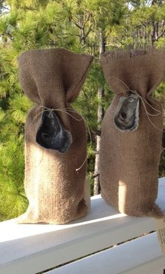 WINE BAGS from burlap oyster bags by CbytheSeaDesigns on Etsy, $12.00
