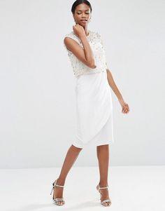 ASOS Embellished Bodice Midi Dress