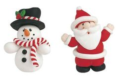 Santa and Snow man fondant figurines