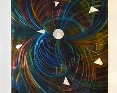 """36x48"""" abstract METAL painting art wall decor modern multicolour business office boardroom home sculpture original hand made - Lubo Naydenov"""