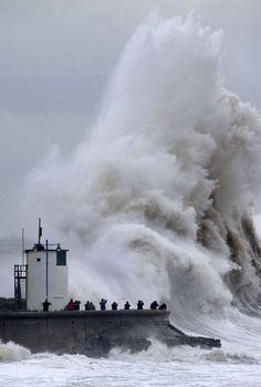 Porthcawl, Wales takes a battering from yet another fierce Atlantic storm yesterday (5th February 2014 ) [GETTY] My home town..
