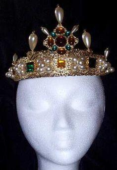 Sapphire & Sage - Renaissance Medieval Crown and Beaded Cap (Rete / Reta) Headpieces Collection