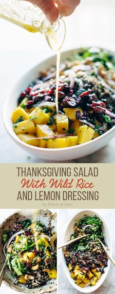 Thanksgiving Salad with Wild Rice and Lemon Dressing | healthy recipe ideas @xhealthyrecipex |
