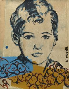 DAVID BROMLEY Children Series  Boy and Flowers  Polymer on Canvas 45cm x 35cm