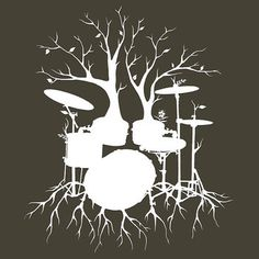 "'""Live the Beat to the Tempo of Creation"" ~ drum tree art , T-Shirt by Leah McNeir Trendy Tattoos, Cool Tattoos, Drummer Tattoo, Drums Quotes, Drums Art, Music Tattoos, Tatoos, Tree Art, Illustrations"