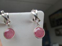 Vintage 2.48ctw Genuine Ruby 925 Sterling Silver Dangle Earrings, Leverbacks, Wt. 2.2 Grams by TamisVintageShop on Etsy