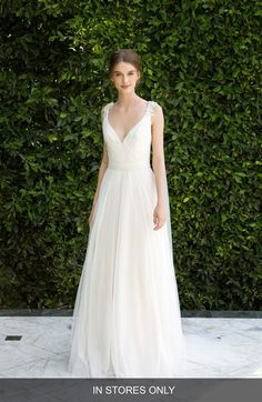 Main Image - BLISS Monique Lhuillier Beaded Soft Tulle Dress with Tails (In Stores Only)