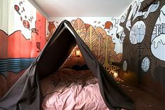 Bed Tent at the Fox Hotel in Copenhagen. - Bed Tent at the Fox Hotel in Copenhagen. Tent Bedroom, Bed Tent, Bedroom Murals, Kids Bedroom, Kids Rooms, Tent Canopy, Canopy Frame, Wall Murals, Wall Art