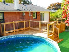 Patio en cèdre à Brossard Pool Decks, Tub, Play Areas, Outdoor Decor, Pools, Image, Home Decor, Courtyards, Piscine Hors Sol
