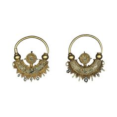 Gold and enamel earrings  Byzantine, early 10th century AD
