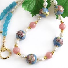 Pink and Blue Necklace, Flower Beads, Freshwater Pearls, Rhodonite | PrettyGonzo - Jewelry on ArtFire