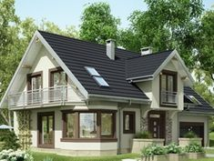 A successful project of a small cozy one and a half story house! Very convenient - BE IN THE TOPIC Modern Bungalow House, Bungalow House Plans, New House Plans, Rustic Houses Exterior, Tiny House Exterior, Beautiful House Plans, Beautiful Homes, Cottage Plan, Cottage Style Homes