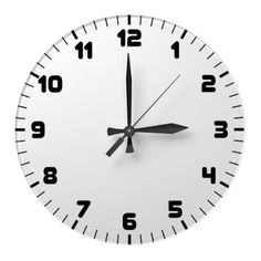 Custom Wall Clock White Face Black Numbers.  $24.95