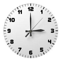 Custom Wall Clock White Face Black Numbers.  $24.95