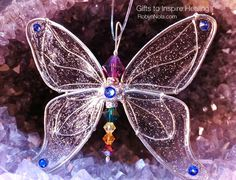 Swarovski Crystal Butterfly Sun Catcher. The butterfly is the symbol of metamorphosis and transformation. The symbol of new life, letting go of old cycles and finding your true inner expression. The butterfly calls you to expand your awareness, spread your wings and call forth your inner joy. #butterfly #gifts