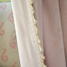 This Pale Rose Leaf in thick weave cotton makes the perfect curtain, seen here with contrasting Pink Piping Fabric and an Apple Green/Ivory Fan Edge to give it a rich finishing touch - Susie Watson Designs Hall Curtains, Curtains With Blinds, Beautiful Blinds, Susie Watson, Embroidered Leaves, Curtain Styles, Rose Leaves, Applique Fabric, Made To Measure Curtains
