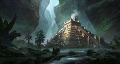 Billedresultat for temple cave concept art Jungle Temple, Temple Art, Fantastic Art, Fantasy Island, Fantasy Landscape, Fantasy City, Art, Mayan Art, Scenery