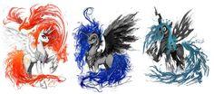 #119892 - artist:ziom05, nightmare moon, philomena, phoenix, prime celestia, princess celestia, princess luna, queen chrysalis, safe - Derpibooru - My Little Pony: Friendship is Magic Imageboard