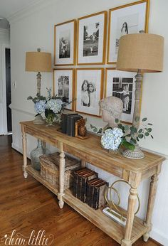 A Gallery Wall For Our New Entryway and Upstairs Hallway – Dear Lillie Studio – Decorating Foyer Hallway Decorating, Entryway Decor, Decorating Ideas, Interior Decorating, Foyer Table Decor, Table Sofa, Console Table Living Room, Console Tables, Upstairs Hallway