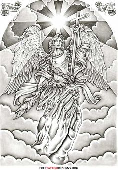 Tattoos Angel Wings Guardian And St Michael Tattoo Designs St. Michael Tattoo, Archangel Michael Tattoo, Guardian Angel Tattoo, Angel Tattoo Men, Guardian Angels, Los Muertos Tattoo, Engel Tattoos, Heaven Tattoos, Muster Tattoos